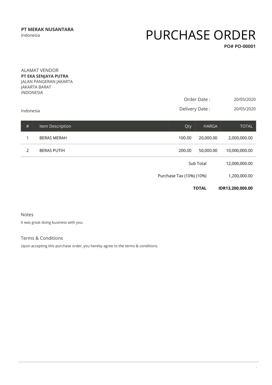 Contoh Purchase Order PO